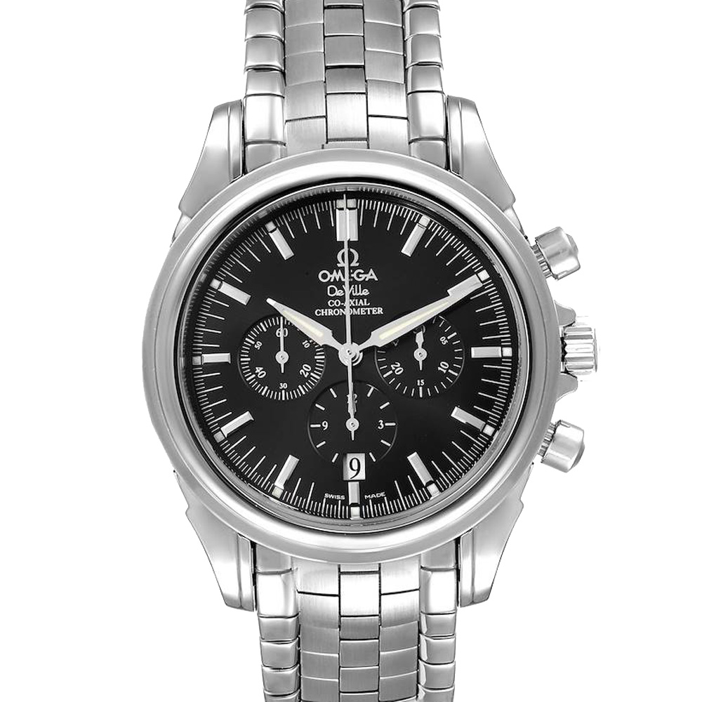 Pre-owned Omega Black Stainless Steel Deville Co-axial Chronograph 4541.50.00 Men's Wristwatch 41 Mm