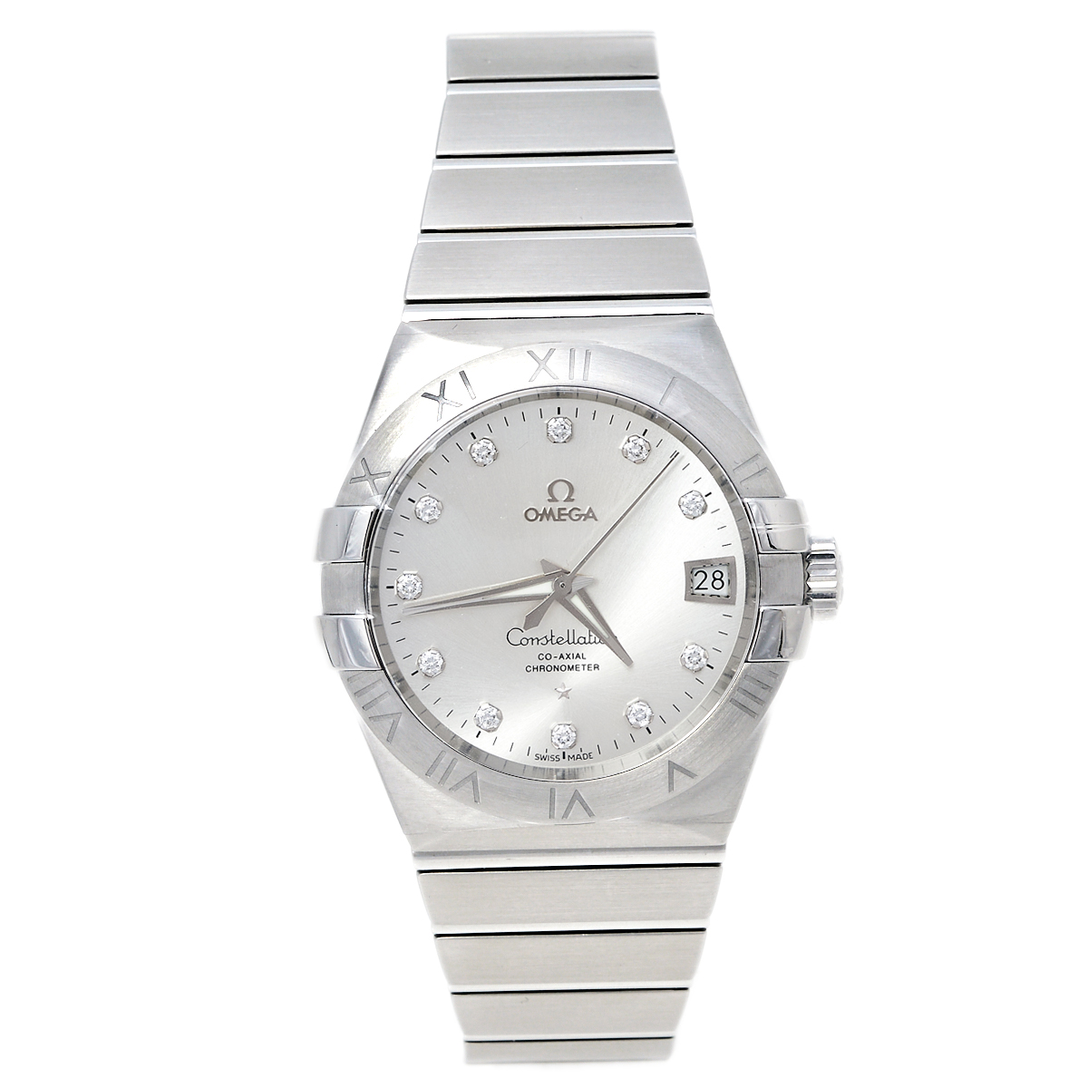 OMEGA SILVER DIAMOND STAINLESS STEEL CONSTELLATION CO-AXIAL 123.10.38.21.52.001 MEN'S WRISTWATCH 38 MM