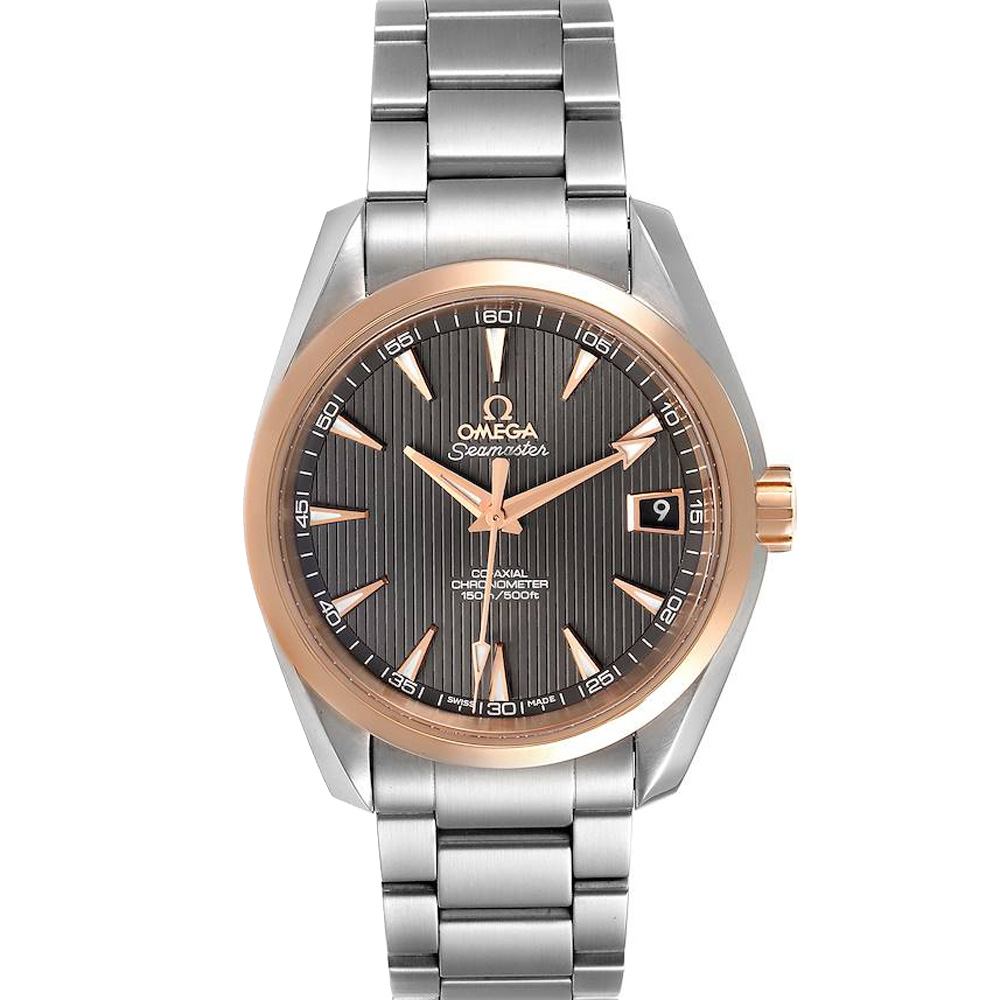 Pre-owned Omega Grey 18k Rose Gold And Stainless Steel Seamaster Aqua Terra 231.20.39.21.06.003 Men's Wristwatch 41.