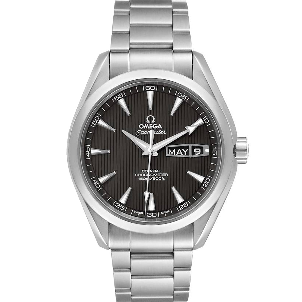 Pre-owned Omega Black Stainless Steel Seamaster Aqua Terra 231.10.43.22.06.001 Men's Wristwatch 43 Mm