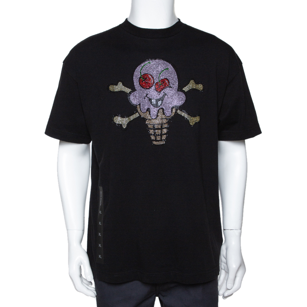 Palm Angels Black Cotton x Ice Cream Skull Embellished T Shirt L