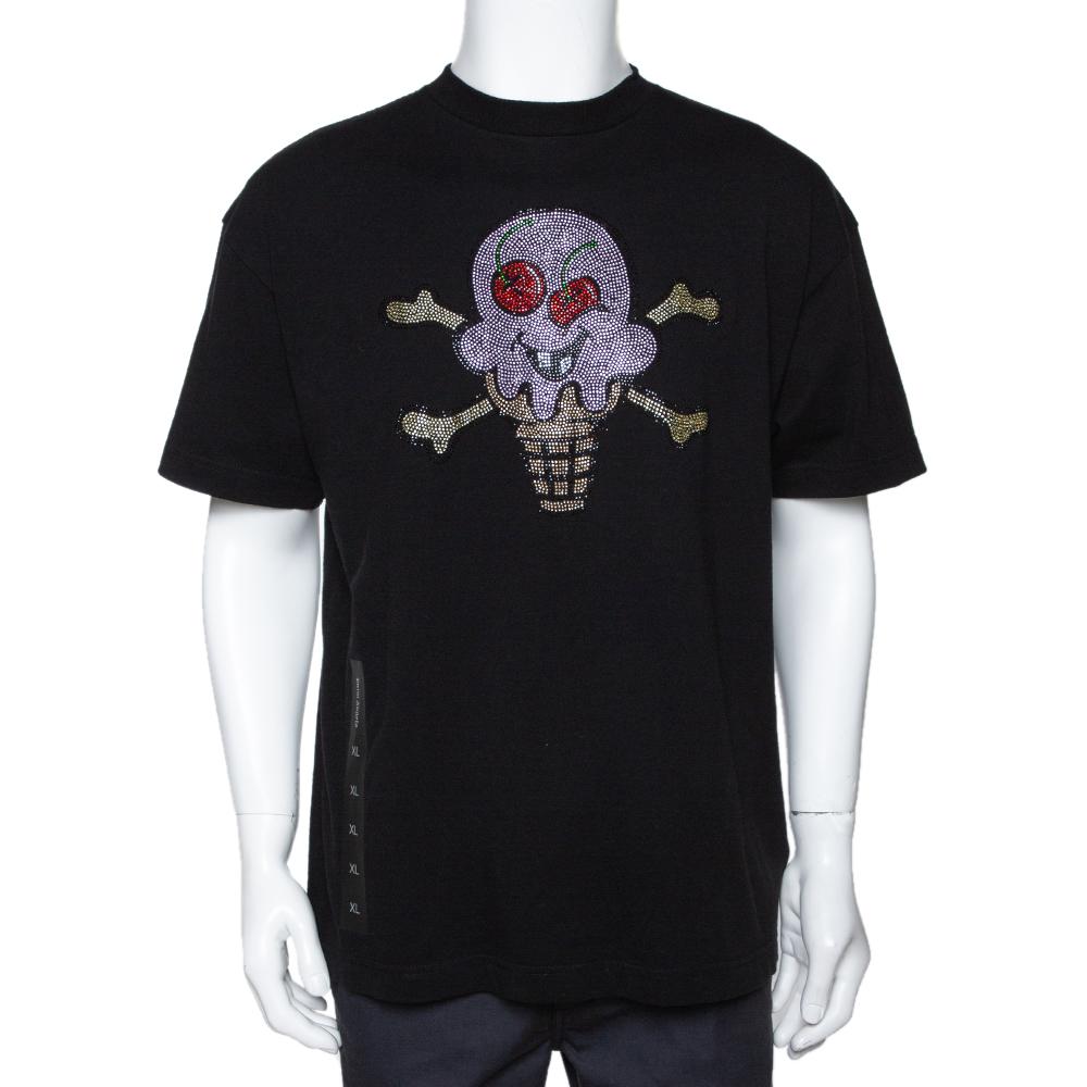 Palm Angels Black Cotton x Ice Cream Skull Embellished T Shirt L