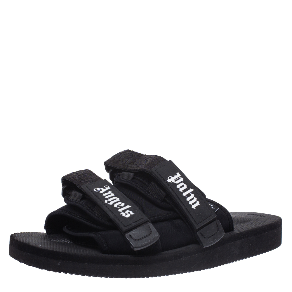 Palm Angels x Suicoke Black Fabric And Nylon Slide Sandals Size 42