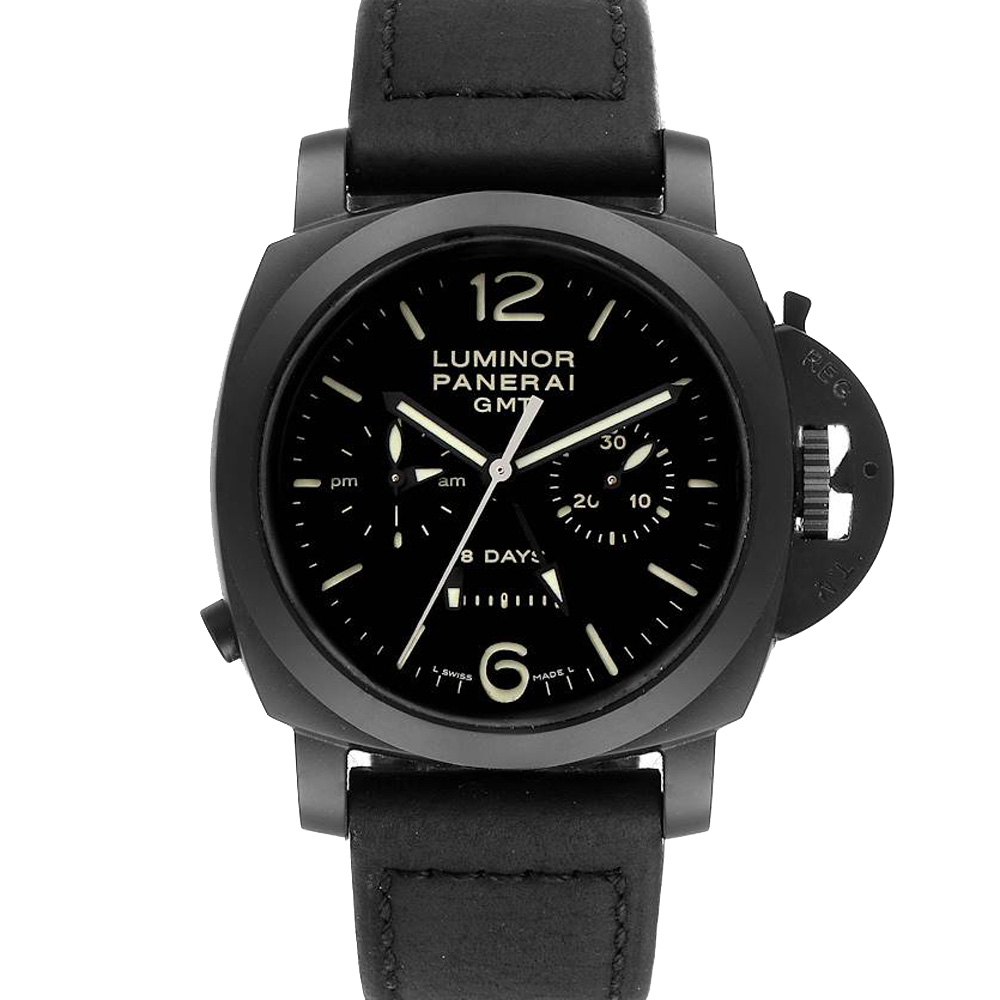 Pre-owned Panerai Black Ceramic Luminor 1950 8 Days Gmt 24h Pam00317 Men's Wristwatch 44 Mm