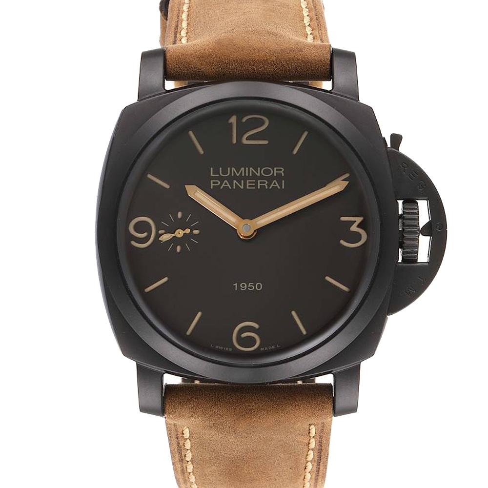 Pre-owned Panerai Black Composite Luminor 1950 3 Days Pam00375 Men's Wristwatch 47 Mm