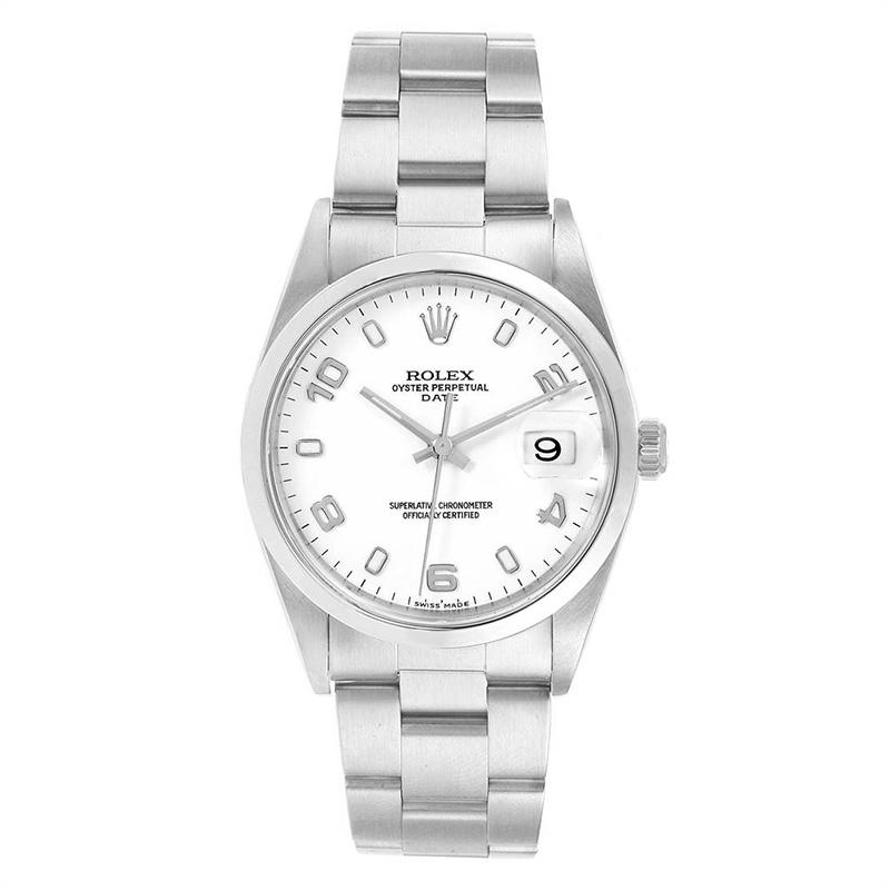 Rolex White Stainless Steel Date 15200 Men's Wristwatch 34MM