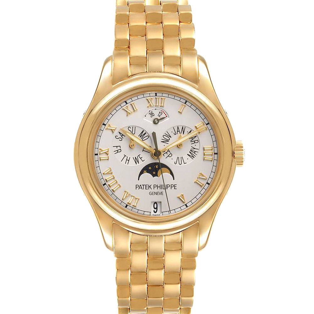 Pre-owned Patek Philippe White 18k Yellow Gold Moonphase 5036 Men's Wristwatch 36.5 Mm