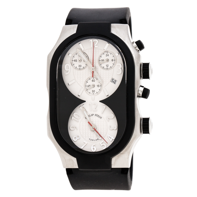 Philip Stein Black Stainless Steel Rubber Teslar Dual Time Chronograph Men's Wristwatch 37 mm