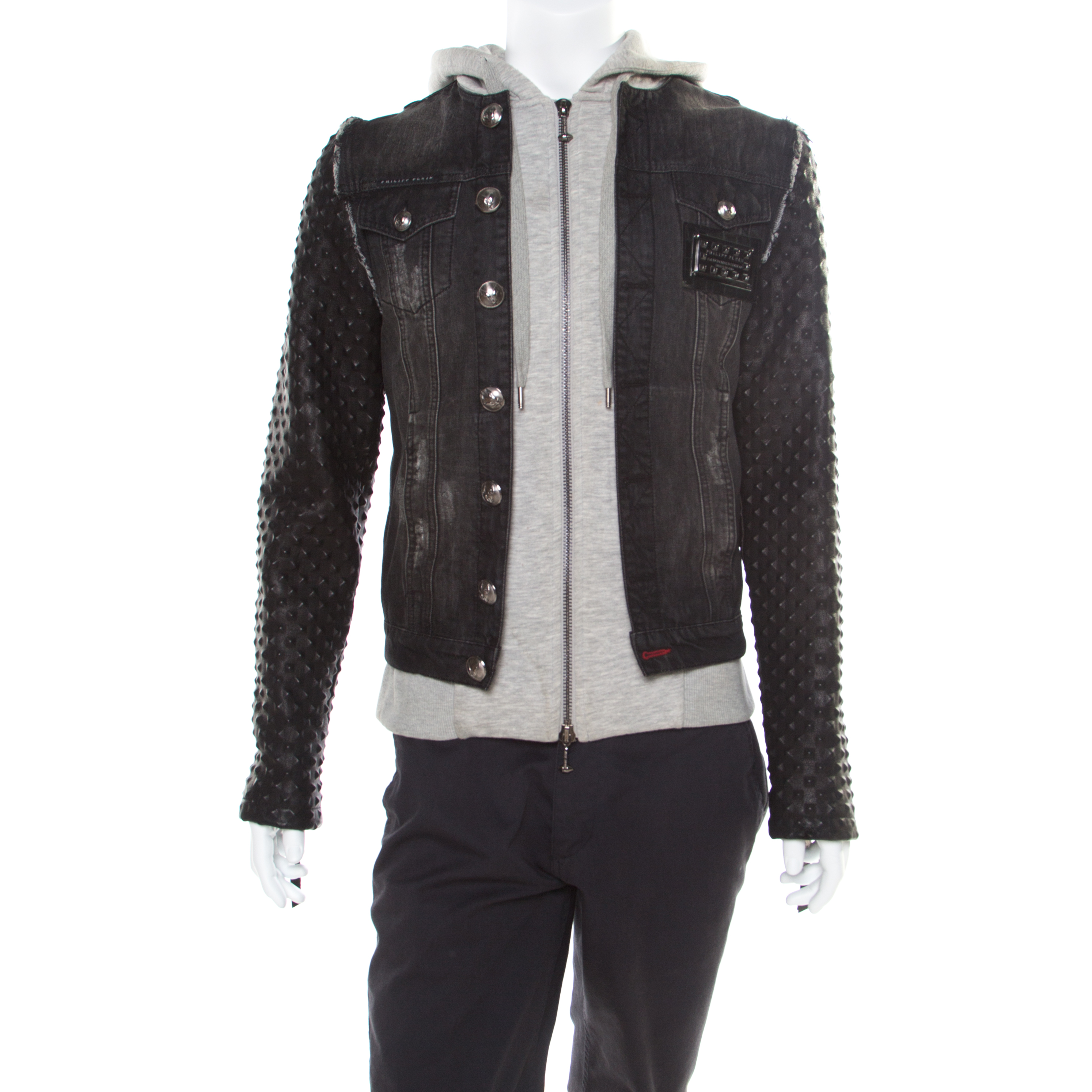 3a2d9211a Philipp Plein Illegal Fight Club Black Textured Leather and Denim Johnny's  Jacket M