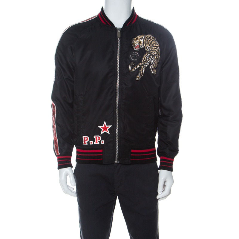 Phillipp Plein Black Embellished Tiger Bomber Jacket M