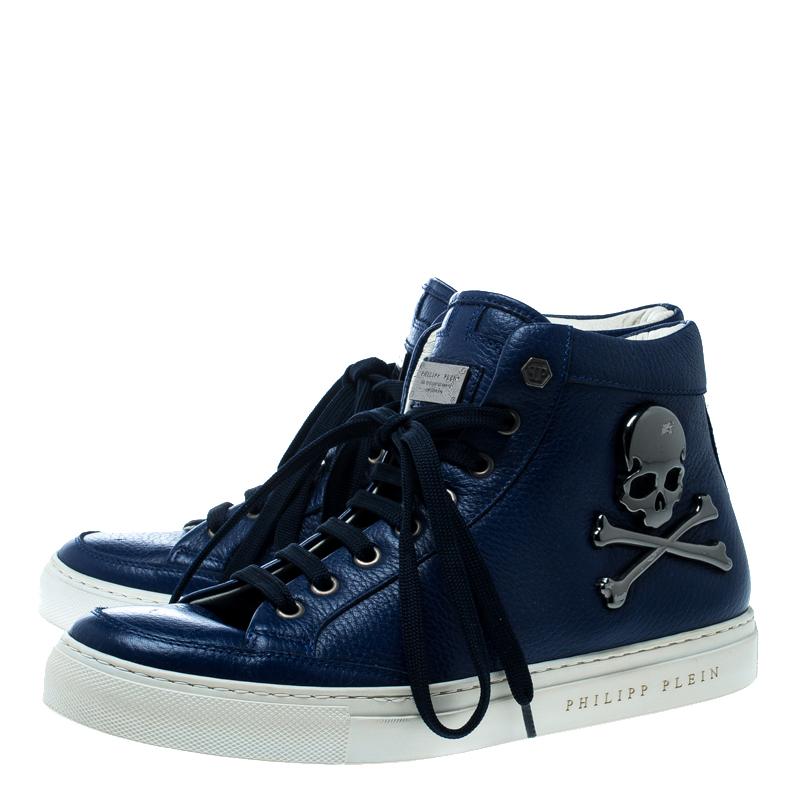 Philipp Plein Blue Leather Skull High