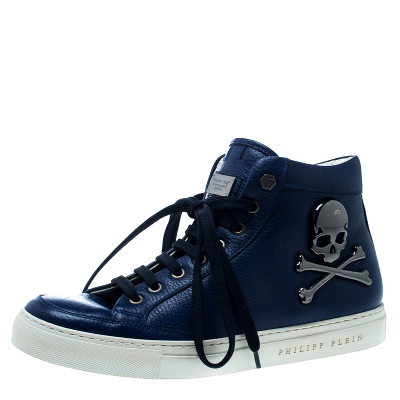 2bfedadb3a Buy Philipp Plein Blue Leather Skull High Top Sneakers Size 40 ...