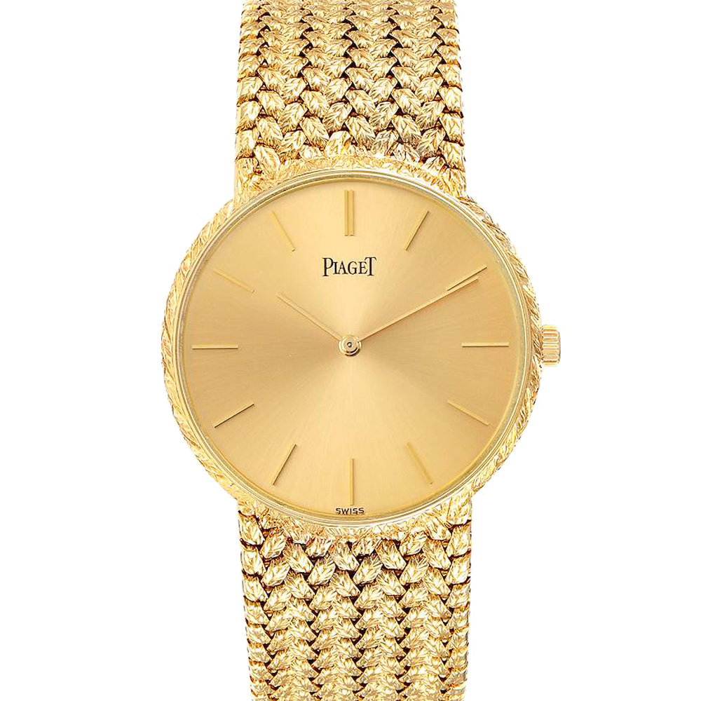 Pre-owned Piaget Champagne 18k Yellow Gold Vintage 9065 Men's Wristwatch 31 Mm