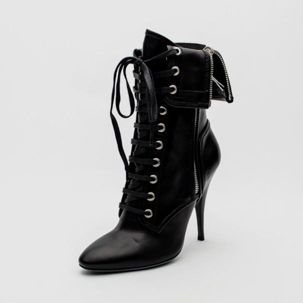 Buy Giuseppe Zanotti For Pierre Balmain Black Leather Lace-Up Folded ... 1a86668145d2
