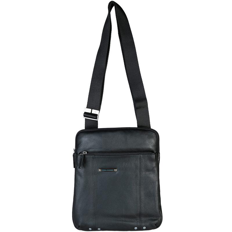 Купить со скидкой Piquadro Black Leather Messenger Bag