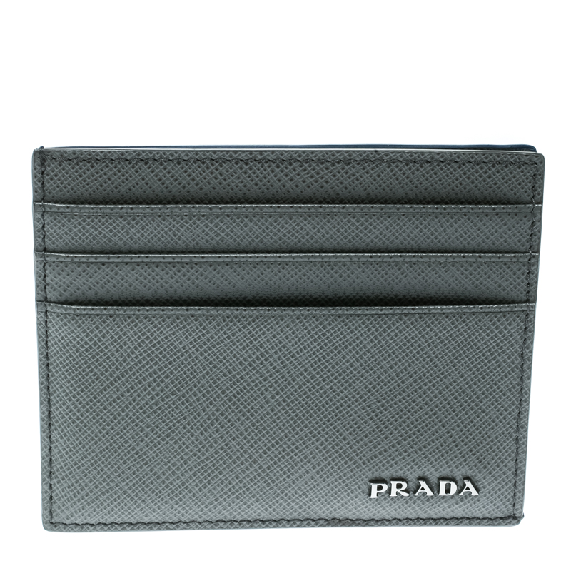 b475076cdf8bdb Buy Prada Grey Saffiano Leather Card Holder 175710 at best price | TLC