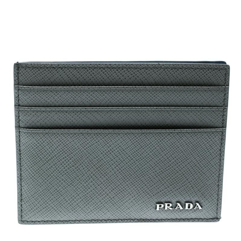 Купить со скидкой Prada Grey Saffiano Leather Card Holder