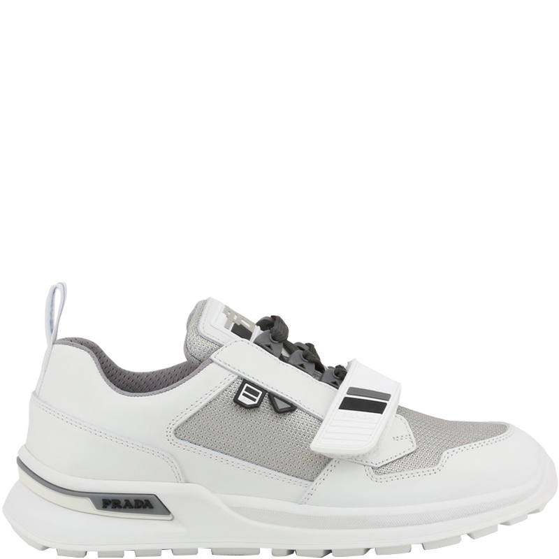 pretty nice f33b3 558ff Prada Two Tone Mechano Leather and Technical Fabric Platform Sneakers Size  42