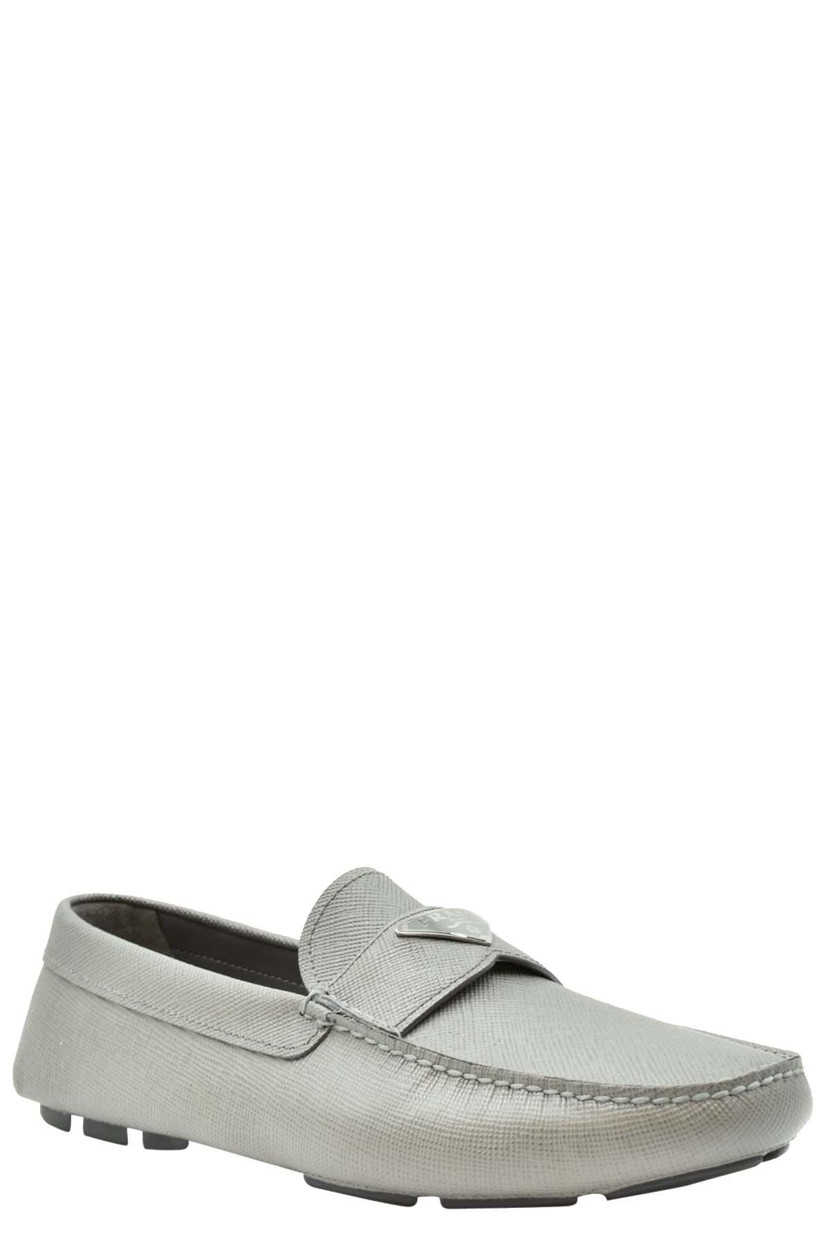 Prada Grey Saffiano Leather Loafers Size UK 11 (EU 45)  - buy with discount