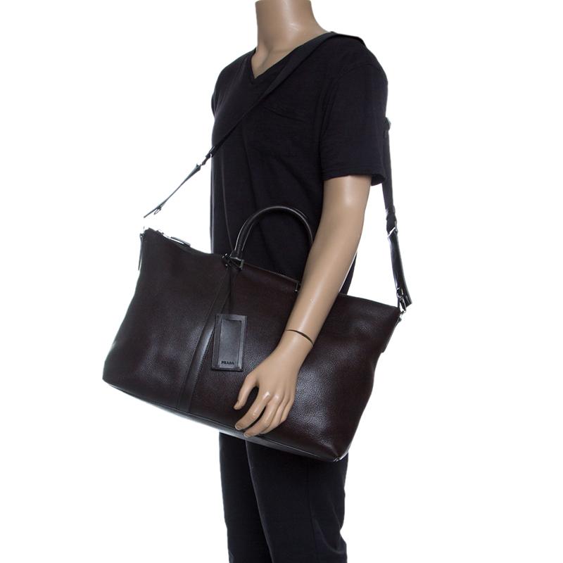 Купить со скидкой Prada Dark Brown Leather Luggage Weekender Bag