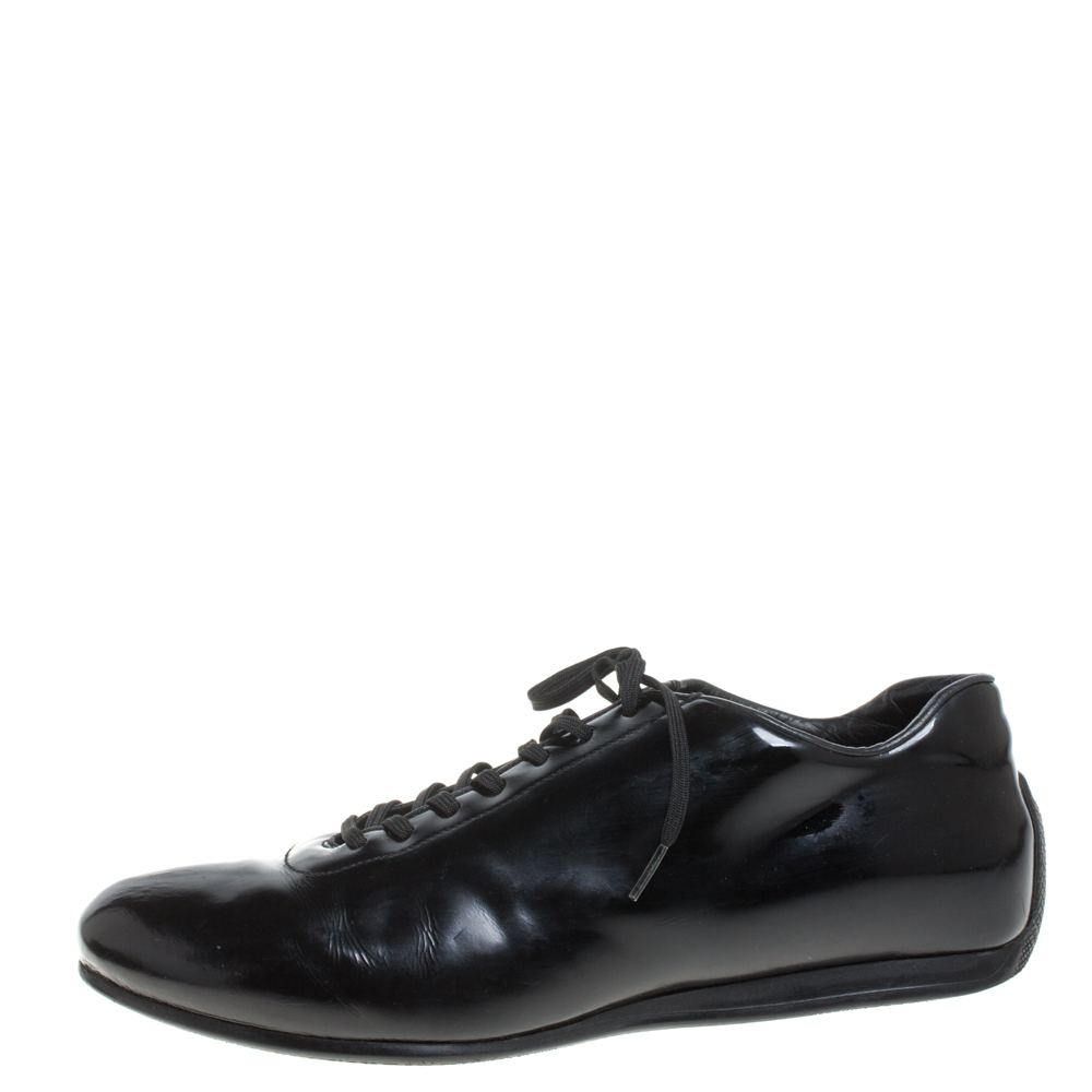 Prada Sport Black Patent Leather Lace Up Low Top Sneakers Size 42  - buy with discount