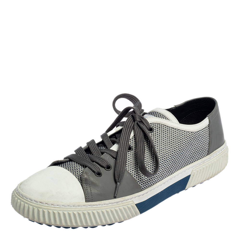 Pre-owned Prada White/grey Nylon Knit And Rubber Lace Up Sneakers Size 45.5