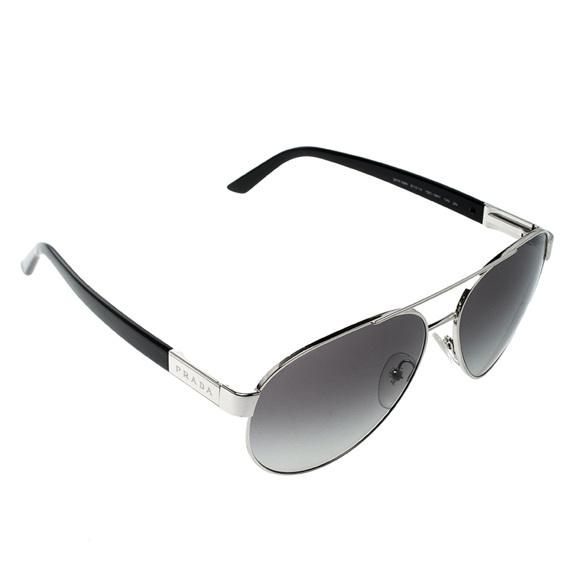 bcc73b0b399a Buy Prada Silver/Black SPR 59N Aviator Sunglasses 140978 at best ...
