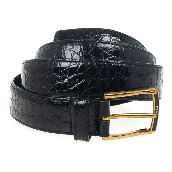 7a0fd30aab58 Buy Prada Black Patent Crocodile Leather Belt 95 CM 23348 at best price