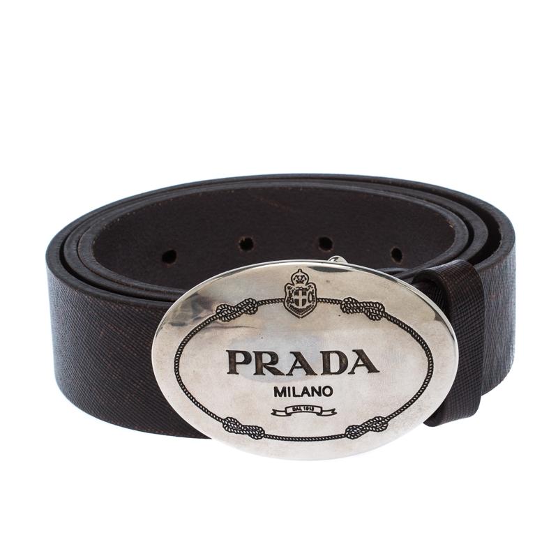 Prada Dark Brown Leather Logo Plague Belt