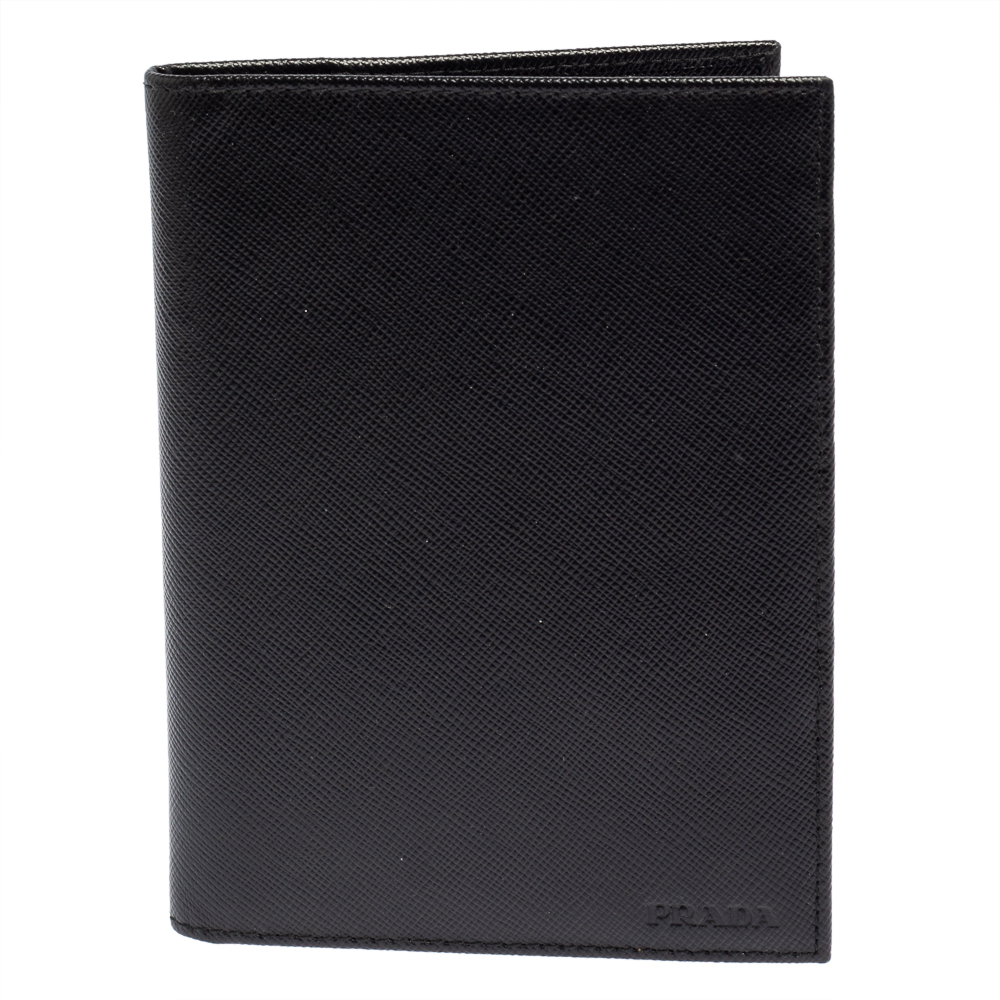 PRADA BLACK SAFFIANO LUX LEATHER PASSPORT HOLDER