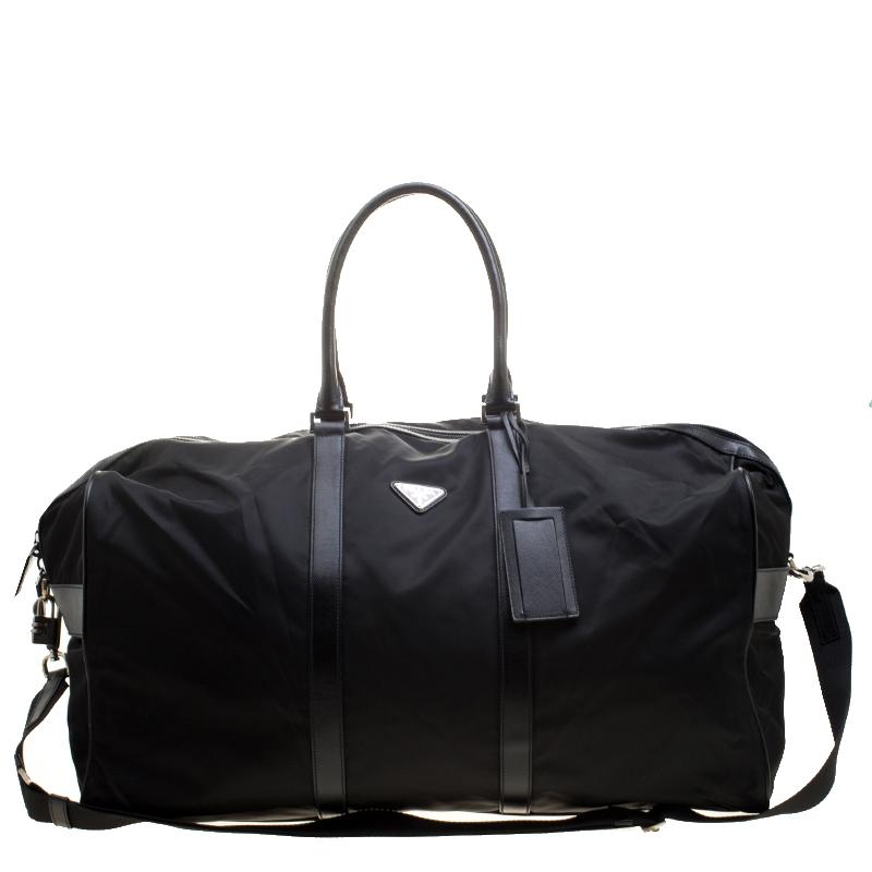 78faa3537a Prada Black Nylon and Saffiano Leather Trim Duffel Bag