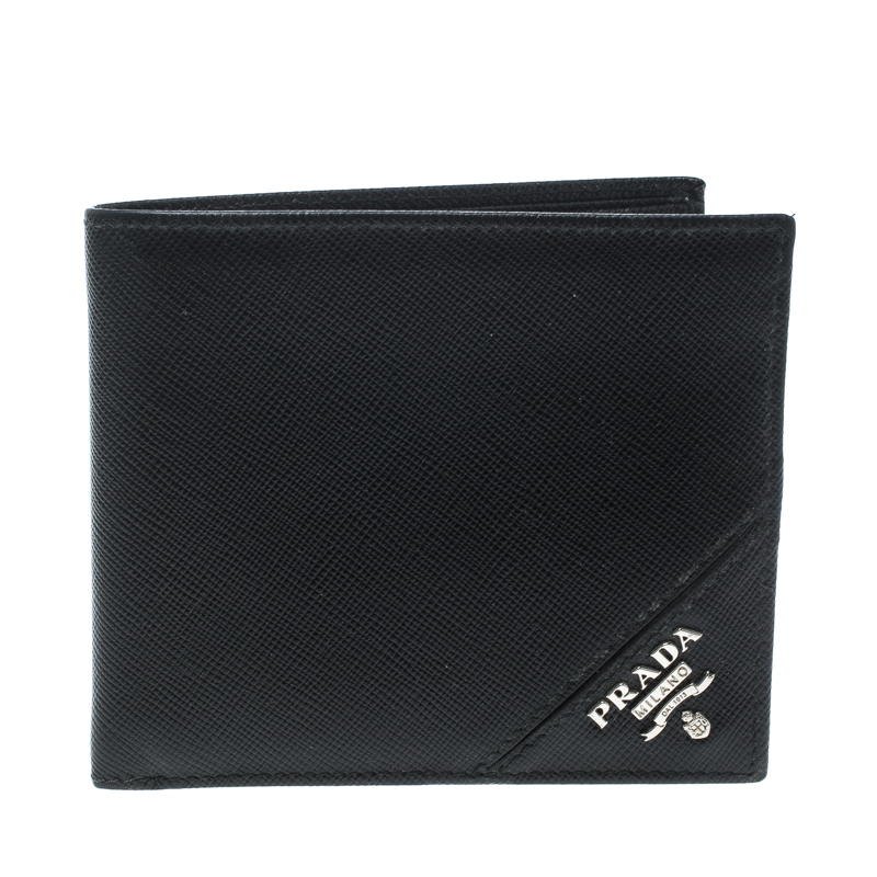 6ba283e67f41 Buy Prada Black Saffiano Leather Bifold Wallet 148185 at best price ...