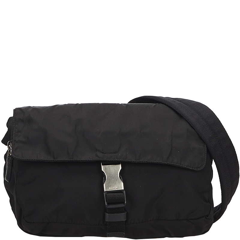 ebc5b8ae6383 Buy Prada Black Nylon Messenger Bag 152547 at best price