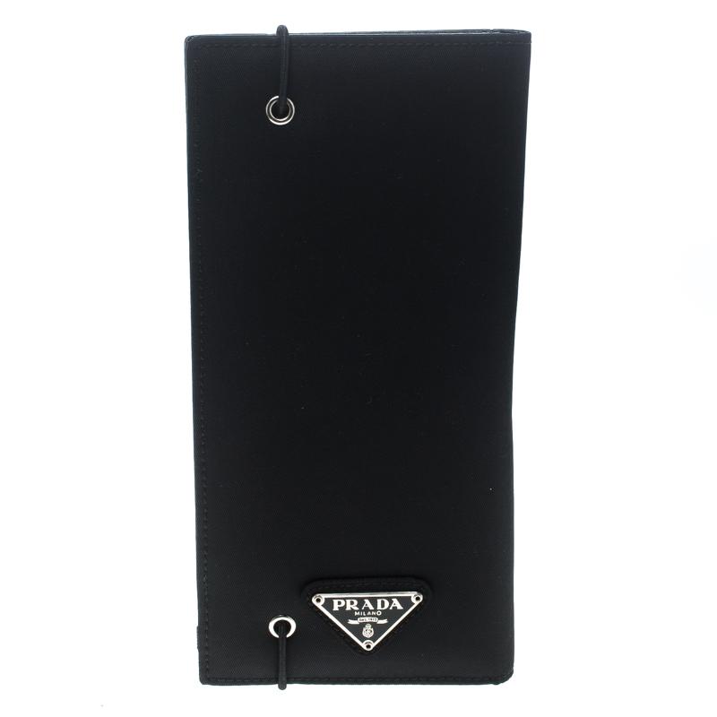 Купить со скидкой Prada Black Nylon Continental Wallet