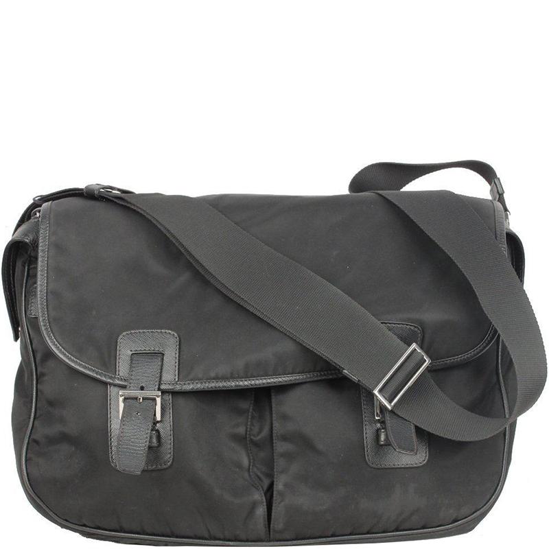 66ae940c8d23 Buy Prada Black Tessuto Nylon Messenger Bag 156971 at best price | TLC