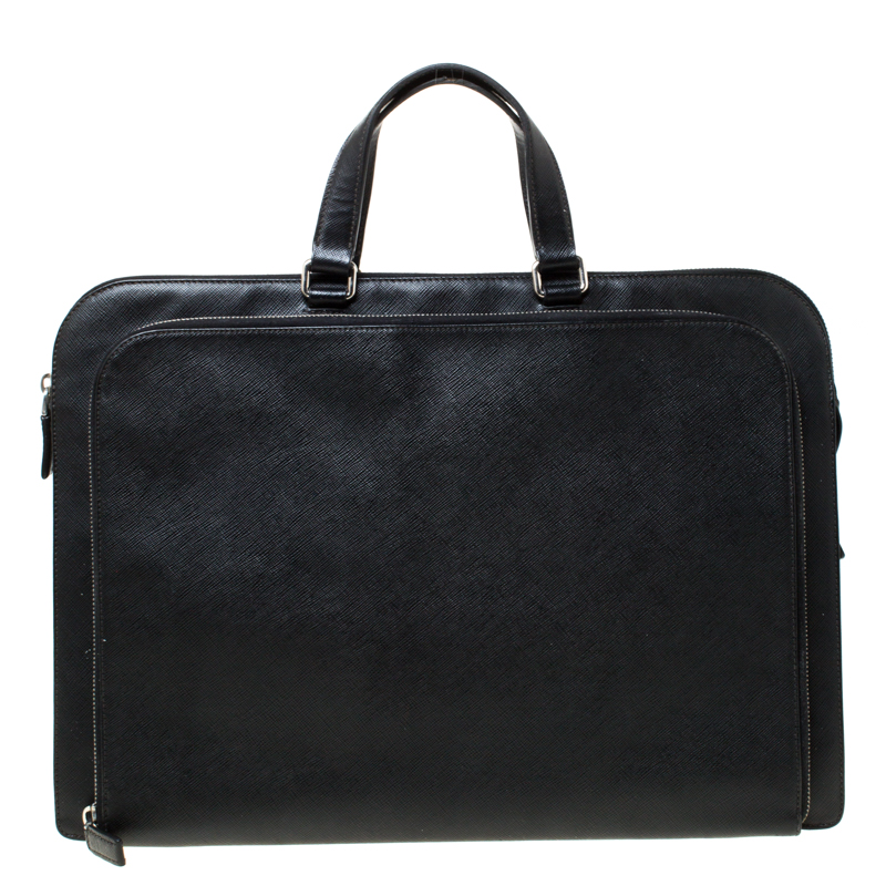 Prada Black Saffiano Leather Briefcase Laptop Bag