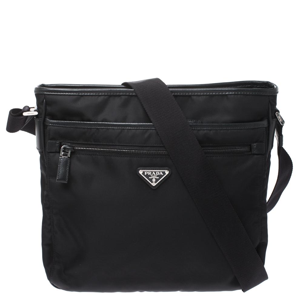 Prada Black Nylon and Leather Zip Messenger Bag