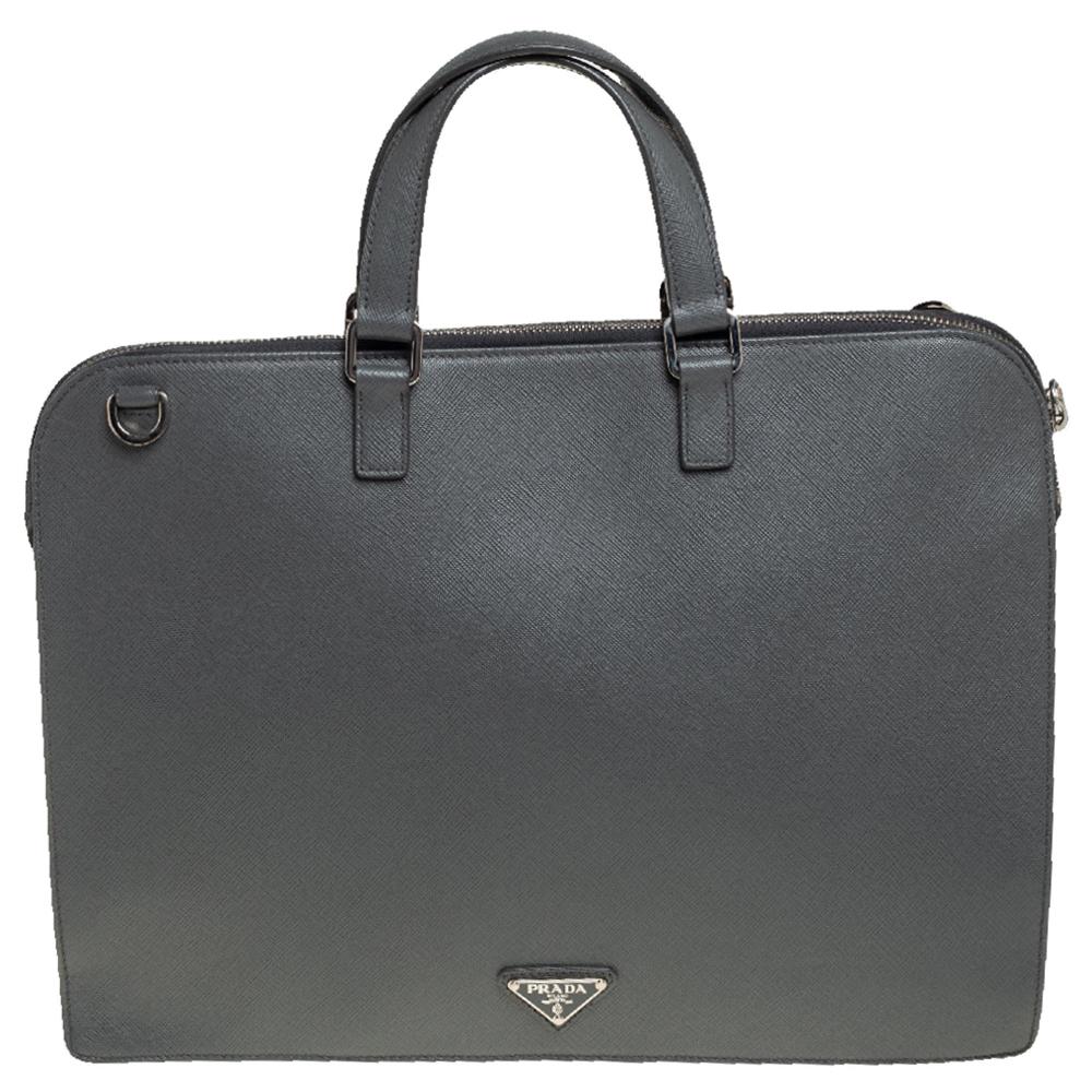 Pre-owned Prada Grey Saffiano Lux Leather Travel Briefcase