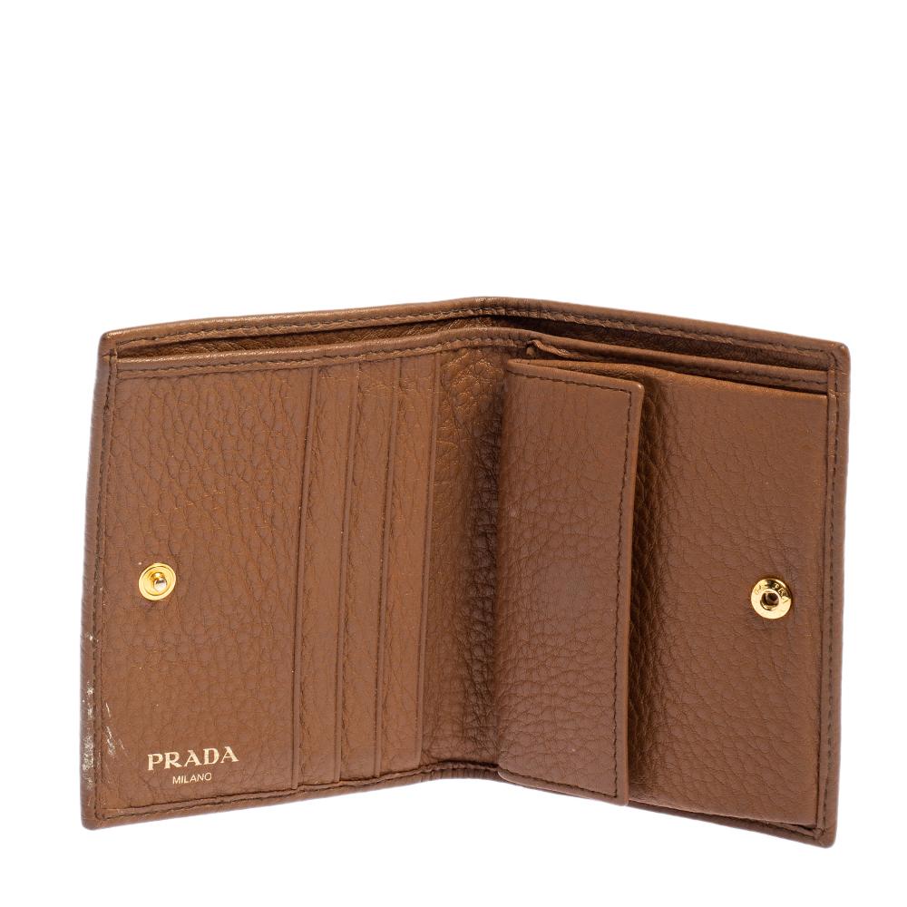 Prada Tan Leather Bifold Wallet