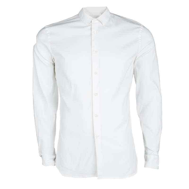 Prada White Long Sleeve Button Front Tailored Shirt L