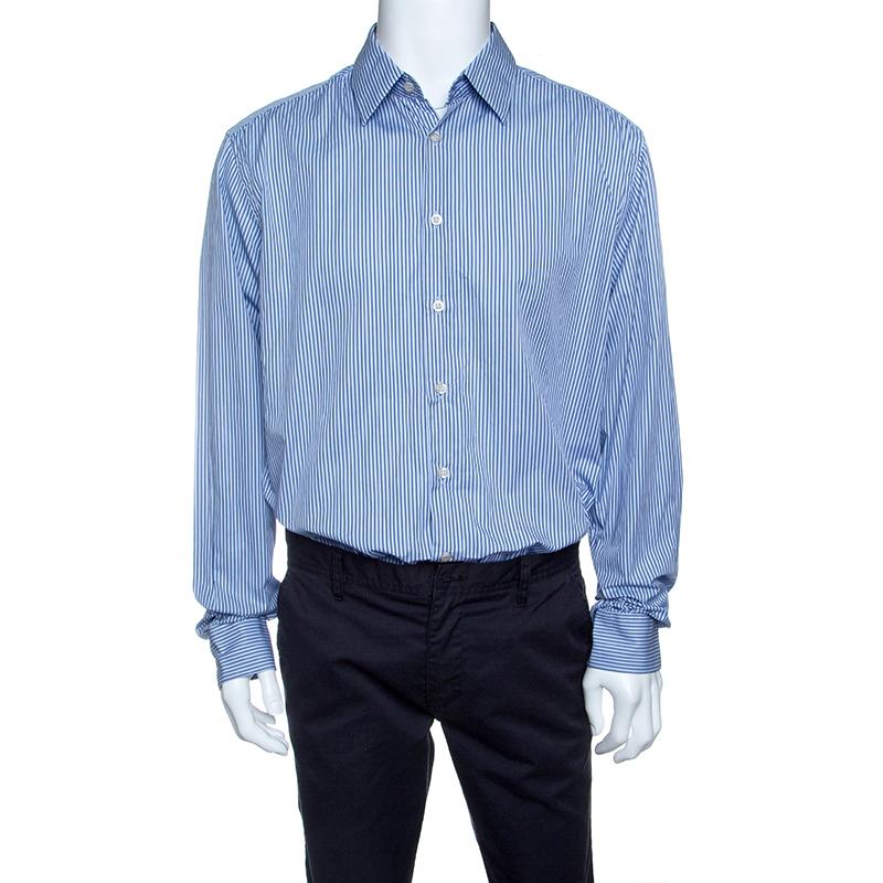 81f9bc33d5 Prada Blue Striped Cotton Long Sleeve Button Front Shirt 3XL