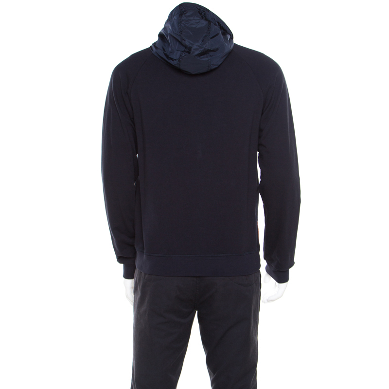 promo code 0d257 1814e Prada Navy Blue Cotton Jersey Zip Front Felpa Blouson Hoodie L