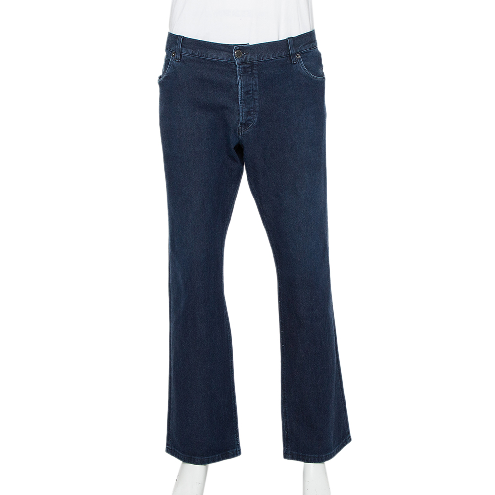 Pre-owned Prada Navy Blue Denim Straight Leg Jeans 3xl