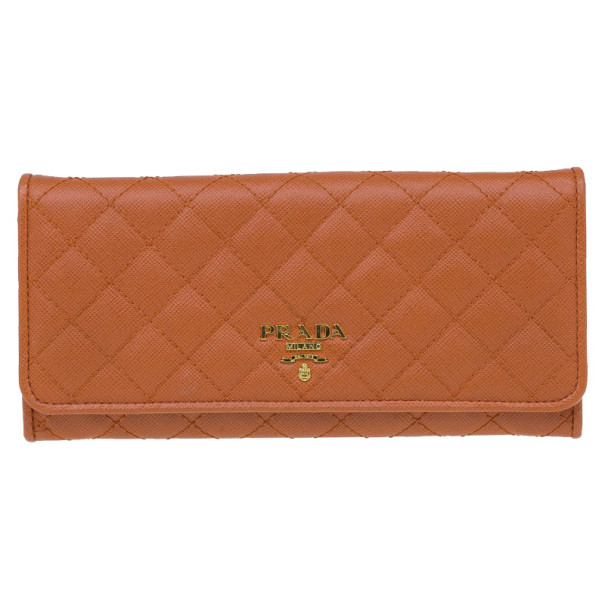 9edab8716399 ... Prada Orange Quilted Saffiano Leather Long Flap Wallet. nextprev.  prevnext