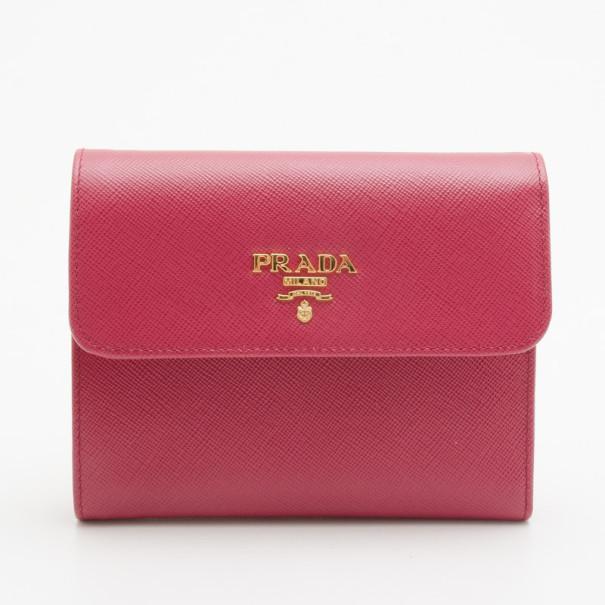 best place for men/man popular stores Prada Pink Saffiano Short Wallet