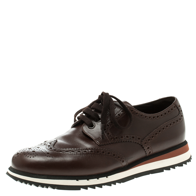 e1f089a731 Prada Brown Leather Brogue Sneakers Size 41.5