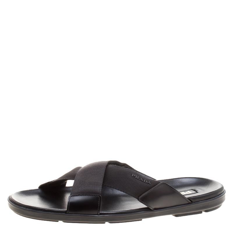 ece709953 Buy Prada Black Leather and Nylon Criss Cross Flat Slides Size 46 ...