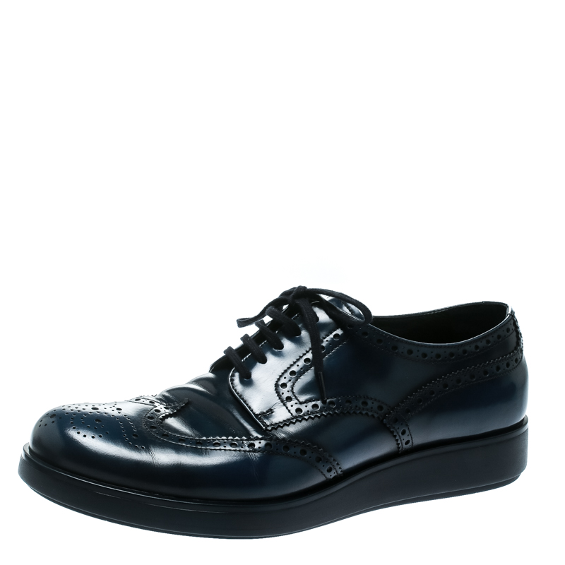 Prada Blue Leather Brogue Derby Sneakers Size 42.5