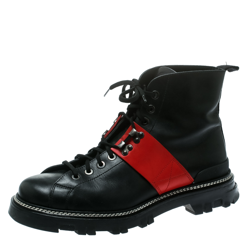 22a9d014 Prada Sport Black/Red Leather High Top Combat Boots Size 44