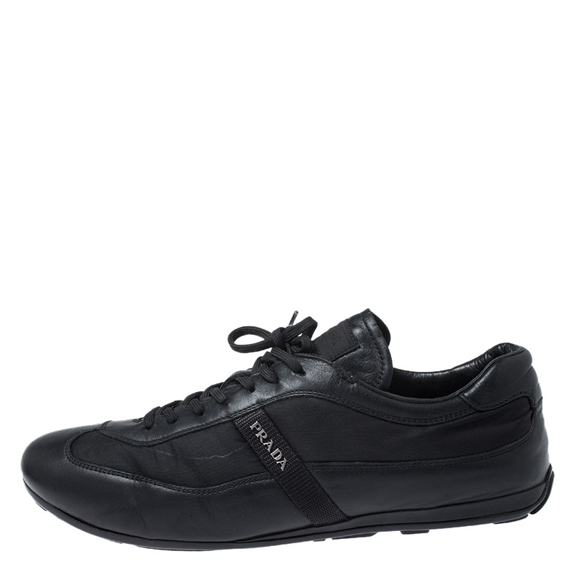 Prada Black Leather and Nylon Trainers Sneakers Size